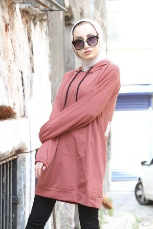 Baskılı Kapüşonlu Spor Tunik TN4328-11 - Thumbnail