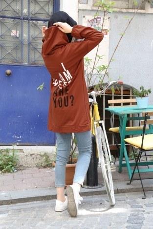 Baskılı Kapüşonlu Spor Tunik TN4328-13 - Thumbnail