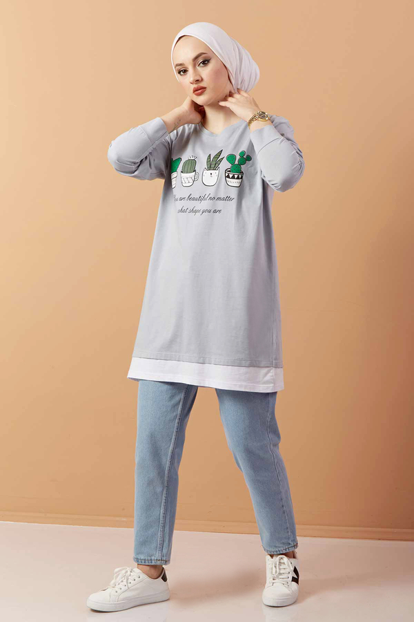 Baskılı Sweat Tunik 120NY4579 Gri