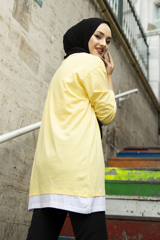 Baskılı Sweat Tunik 120NY4579 Sarı - Thumbnail