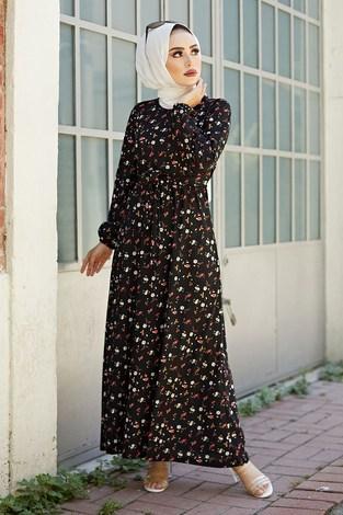 - Bel Kuşaklı Çiçek Desenli Elbise 8372-5
