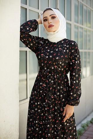 - Bel Kuşaklı Çiçek Desenli Elbise 8372-5 (1)