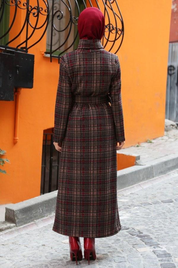 Balıkcı Yaka Ekose Desenli Elbise 4478-04