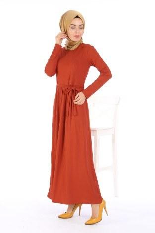 Belden Kuşaklı Elbise EL6981-02 - Thumbnail