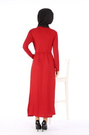 Belden Kuşaklı Elbise EL6981-04 - Thumbnail