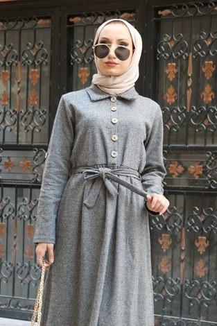 - Belden Kuşaklı Tesettür Elbise 89934-01 (1)