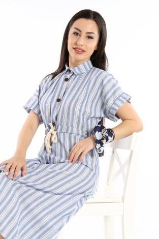 - Beli Bağcıklı Düğmeli Elbise 0375-02 (1)
