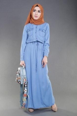 - Beli Bağcıklı Tensel Kot Elbise 8975-1