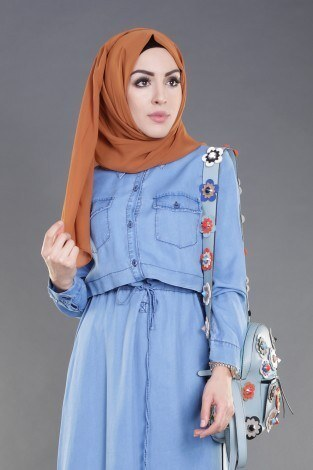 - Beli Bağcıklı Tensel Kot Elbise 8975-1 (1)