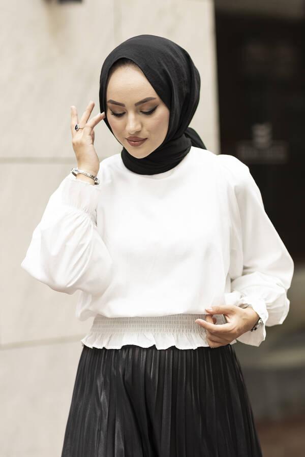 Beli Büzgülü Bluz 100MD-10425 Beyaz