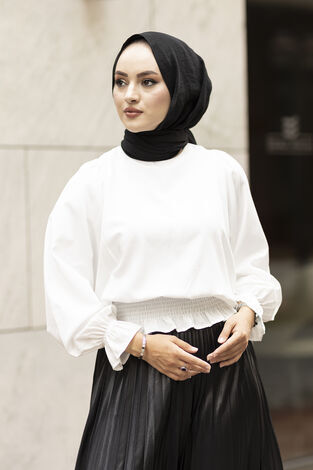 Beli Büzgülü Bluz 100MD-10425 Beyaz - Thumbnail