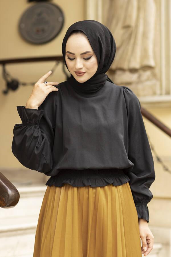 Beli Büzgülü Bluz 100MD-10425 Siyah