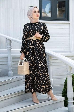 - Beli Büzgülü Eteği Fırfırlı Elbise 17647-7 Siyah