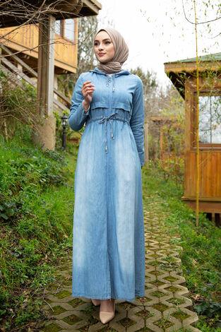 Beli Büzgülü Kapüşonlu Kot Elbise 17630-2 - Thumbnail