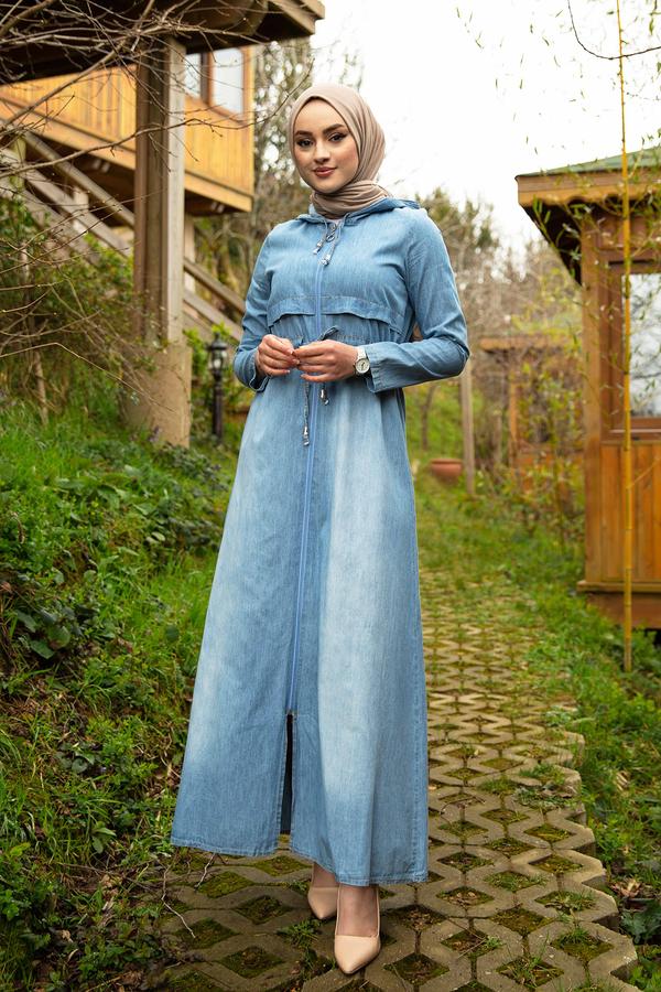 Beli Büzgülü Kapüşonlu Kot Elbise 17630-2
