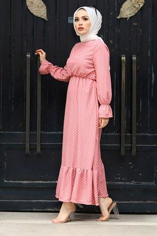 - Beli Büzgülü Puantiye Elbise 17633-8 Pudra