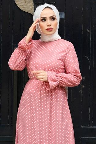 - Beli Büzgülü Puantiye Elbise 17633-8 Pudra (1)