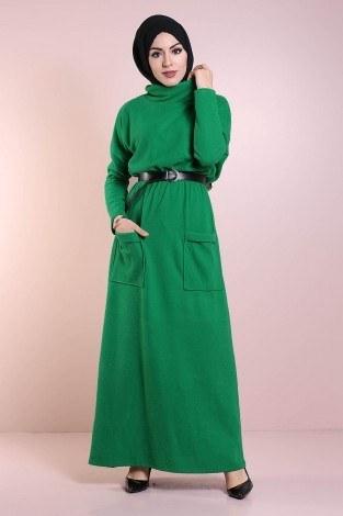 - Beli Büzgülü Selanik Örme Elbise 8450-2