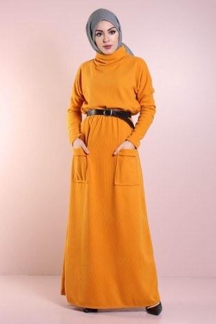 - Beli Büzgülü Selanik Örme Elbise 8450-3