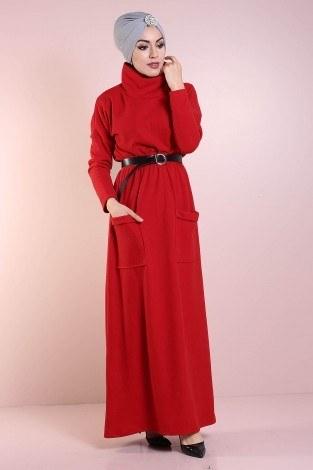 - Beli Büzgülü Selanik Örme Elbise 8450-4 (1)