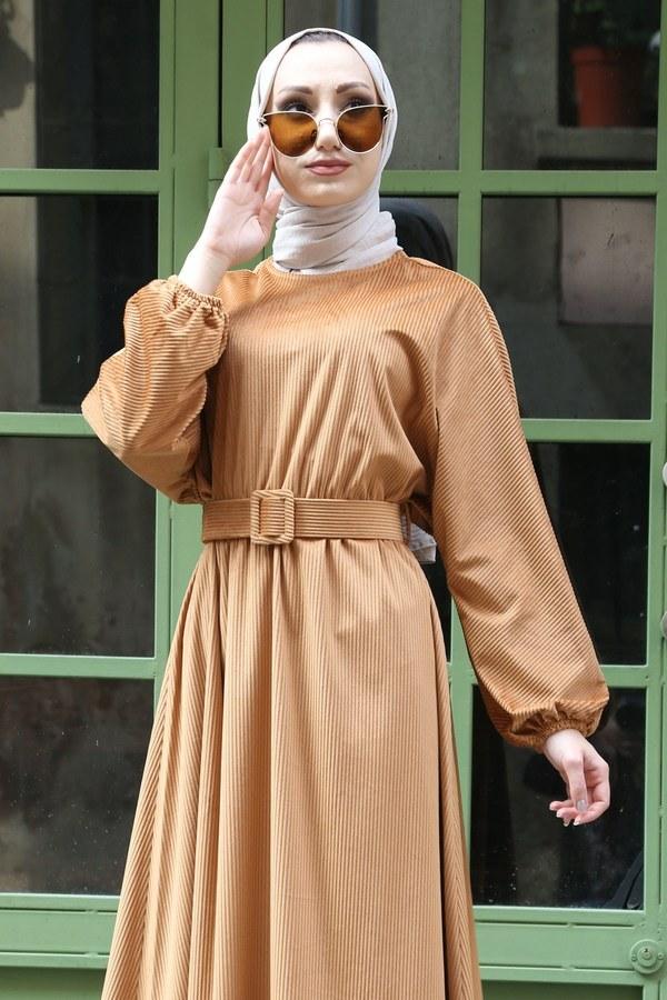 Kemerli Kadife Elbise 2530-11 bej