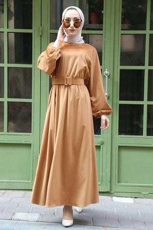 Kemerli Kadife Elbise 2530-11 bej - Thumbnail