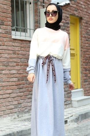 Beli Büzgülü Spor Elbise 2502-09 - Thumbnail