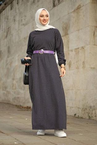 - Beli Büzgülü Yarasakol Elbise 2259-1 Lila
