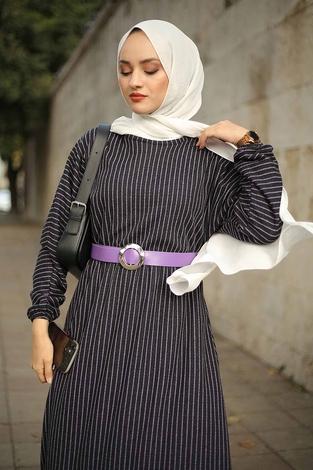 - Beli Büzgülü Yarasakol Elbise 2259-1 Lila (1)
