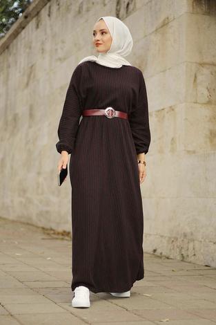 - Beli Büzgülü Yarasakol Elbise 2259-2 Bordo