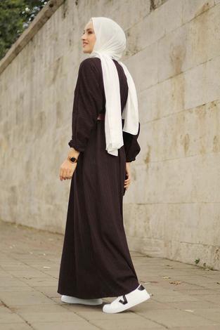 - Beli Büzgülü Yarasakol Elbise 2259-2 Bordo (1)