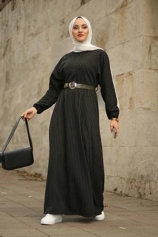 - Beli Büzgülü Yarasakol Elbise 2259-3 Haki