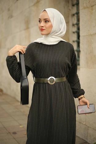 - Beli Büzgülü Yarasakol Elbise 2259-3 Haki (1)