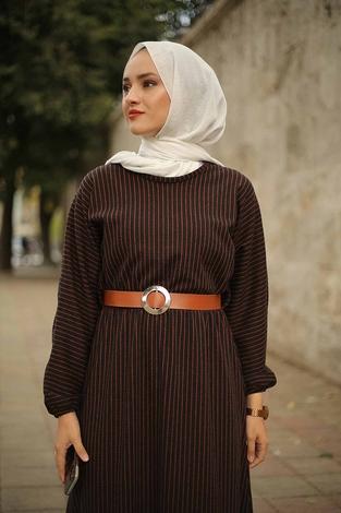 - Beli Büzgülü Yarasakol Elbise 2259-4 Taba (1)