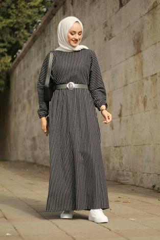 - Beli Büzgülü Yarasakol Elbise 2259-5 Bej