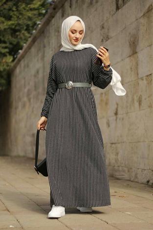- Beli Büzgülü Yarasakol Elbise 2259-5 Bej (1)