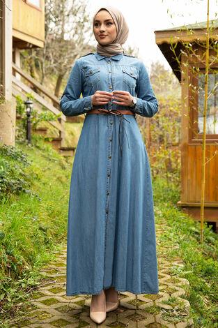 Beli Kemerli Tesettür Kot Elbise 17623-2 - Thumbnail