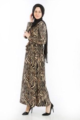 - Beli Kuşakli Desenli Elbise 8546-02