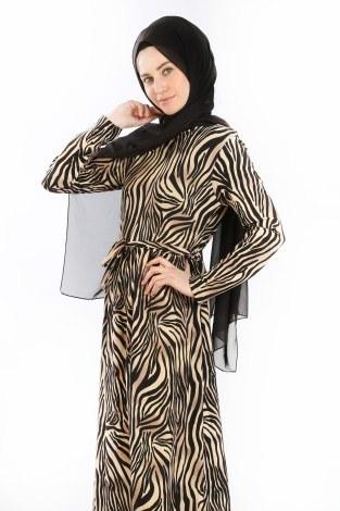 - Beli Kuşakli Desenli Elbise 8546-02 (1)
