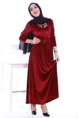 - Beli Kuşaklı Kadife Elbise 7852-03