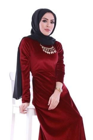 - Beli Kuşaklı Kadife Elbise 7852-03 (1)
