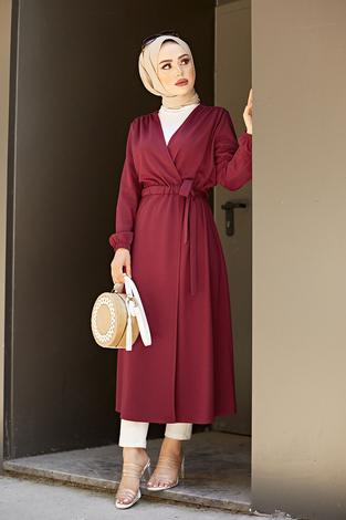 Beli Kuşaklı Kimono 5587-01 Bordo - Thumbnail