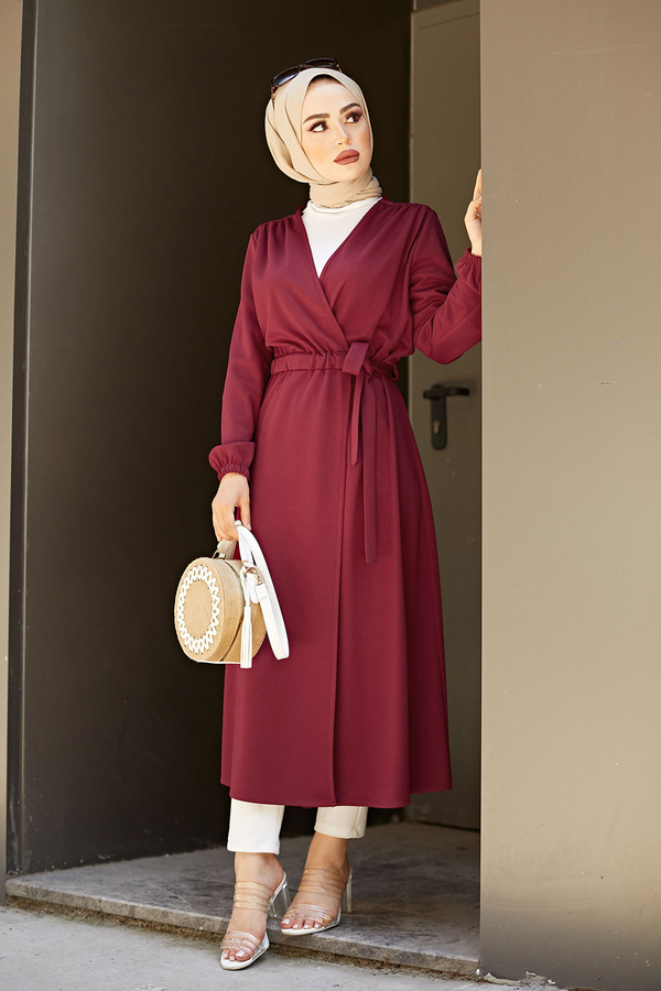Beli Kuşaklı Kimono 5587-01 Bordo