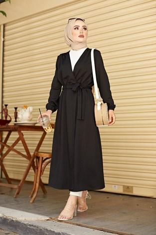 - Beli Kuşaklı Kimono 5587-05 Siyah