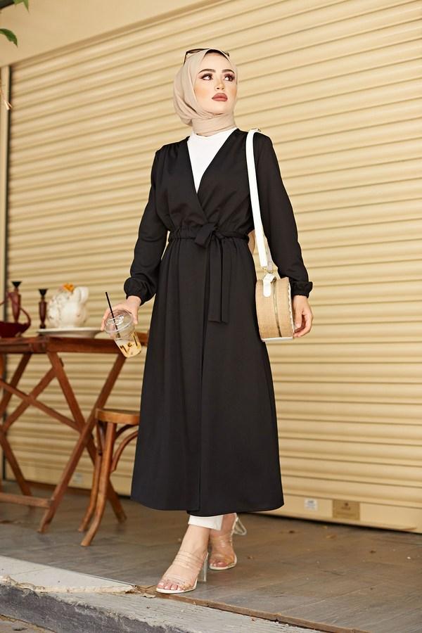 Beli Kuşaklı Kimono 5587-05 Siyah