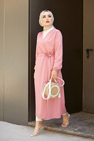 Beli Kuşaklı Kimono 5587-06 Pudra - Thumbnail