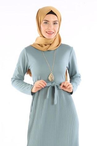 - Beli Kuşaklı Kolyeli Pilise Elbise 1612-06 (1)