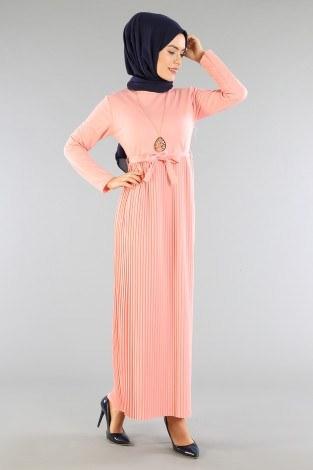 - Beli Kuşaklı Kolyeli Pilise Elbise 1612-05