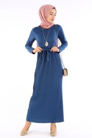 Beli Kuşaklı Kolyeli Pilise Elbise 1612-07 - Thumbnail