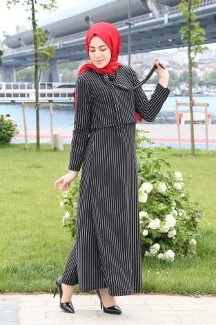Çizgili Siyah Beyaz Elbise 2042-01 - Thumbnail